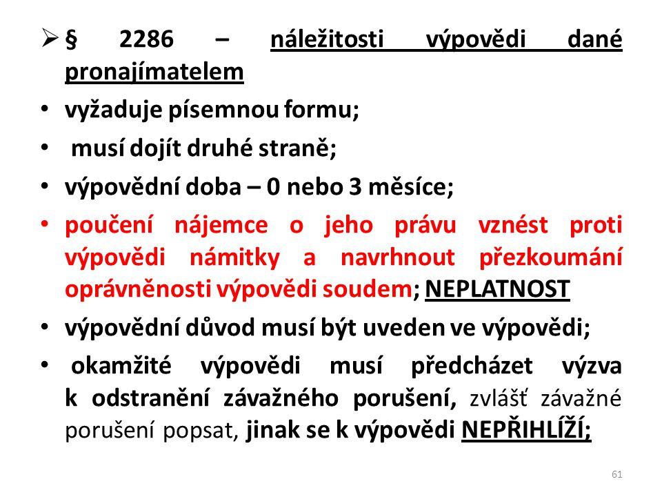 § 2286 – náležitosti výpovědi dané pronajímatelem