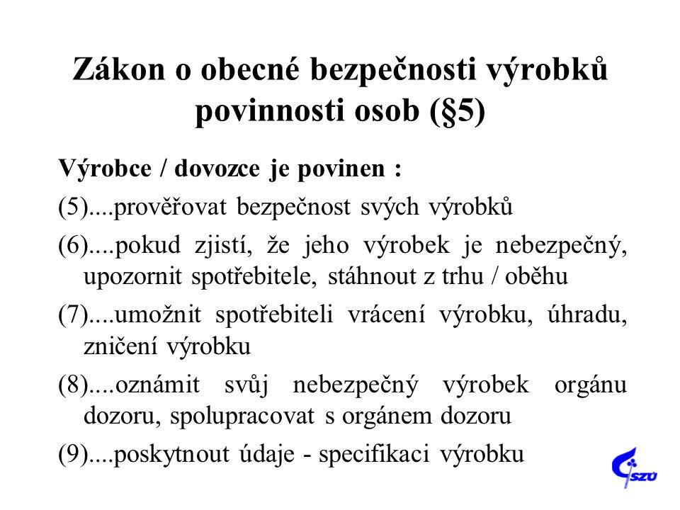 Zákon o obecné bezpečnosti výrobků povinnosti osob (§5)