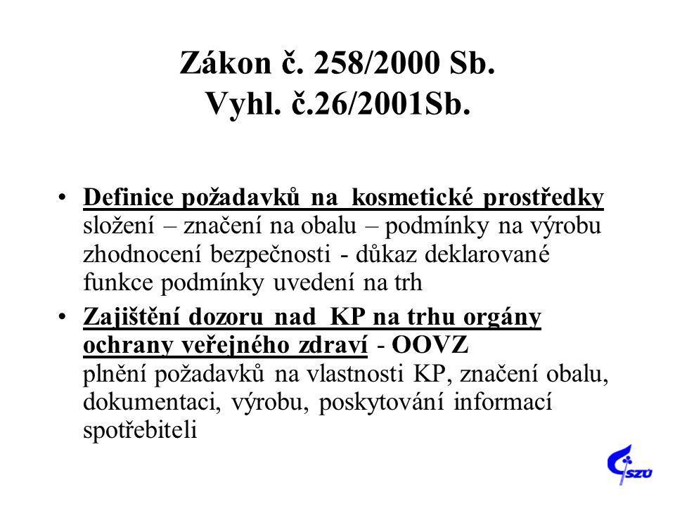 Zákon č. 258/2000 Sb. Vyhl. č.26/2001Sb.