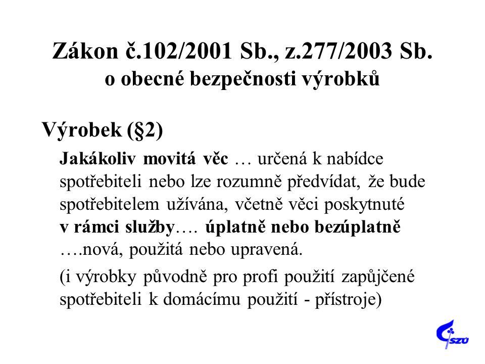 Zákon č.102/2001 Sb., z.277/2003 Sb. o obecné bezpečnosti výrobků