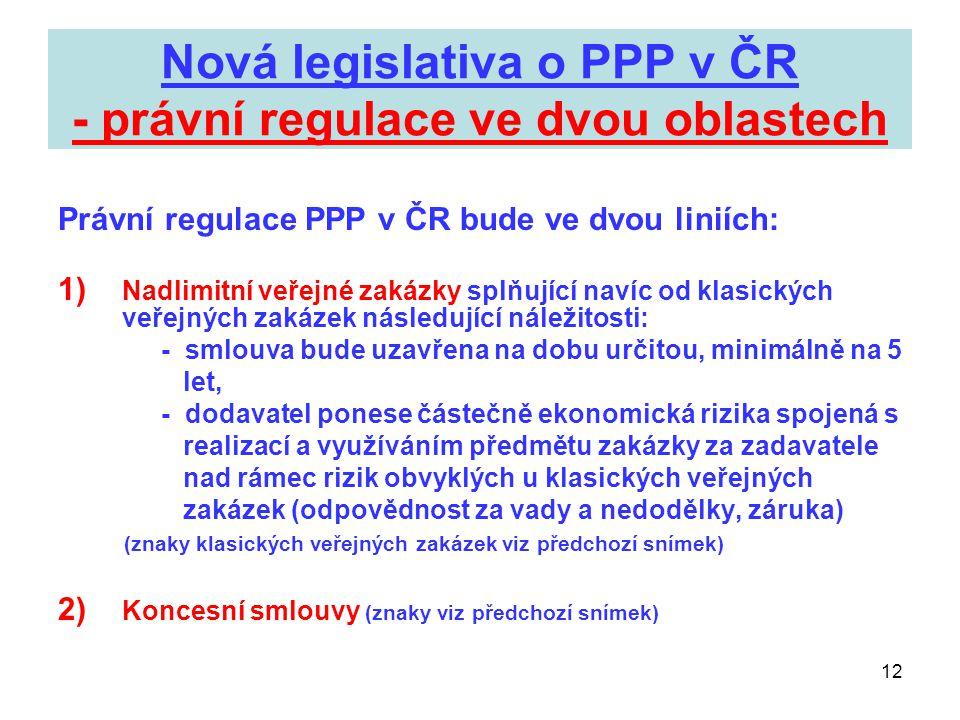 Nová legislativa o PPP v ČR - právní regulace ve dvou oblastech