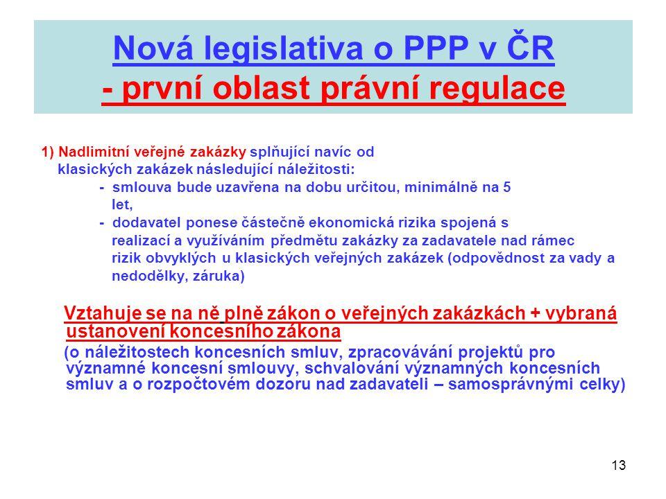 Nová legislativa o PPP v ČR - první oblast právní regulace