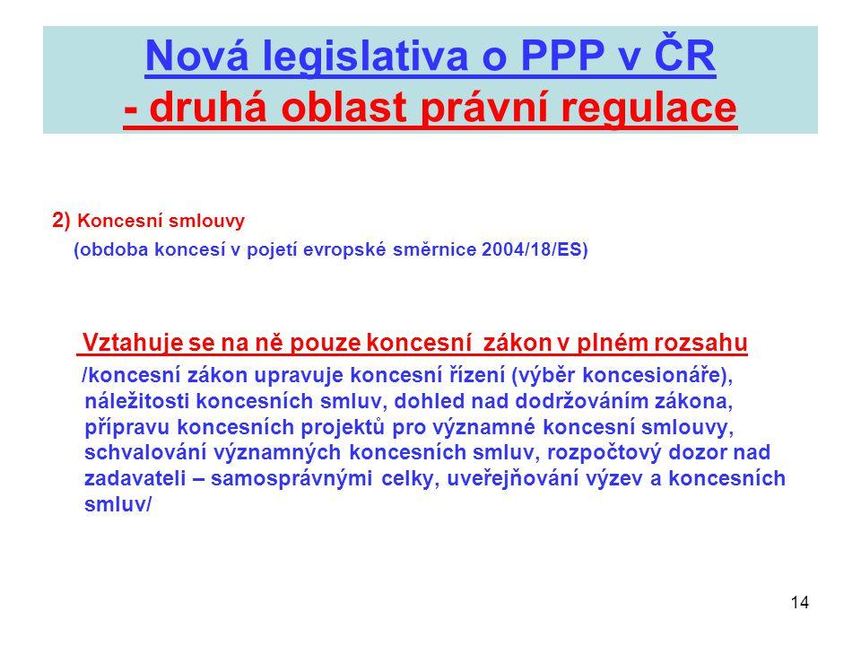 Nová legislativa o PPP v ČR - druhá oblast právní regulace