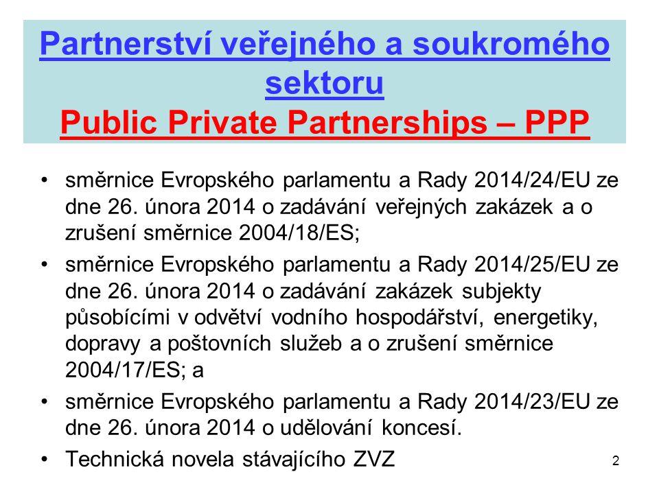 Partnerství veřejného a soukromého sektoru Public Private Partnerships – PPP