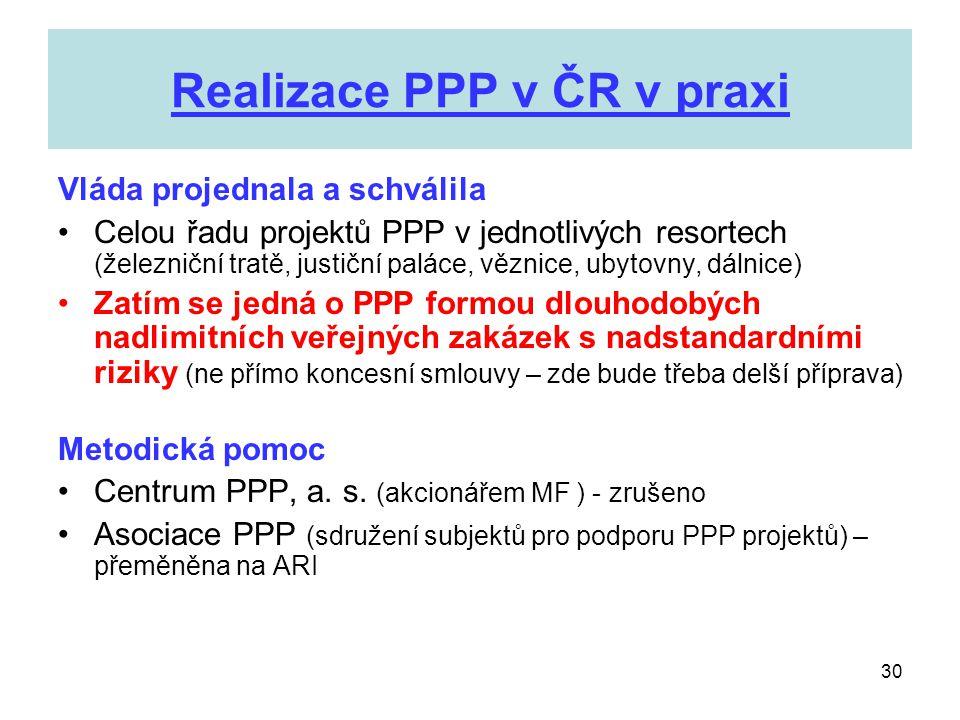Realizace PPP v ČR v praxi