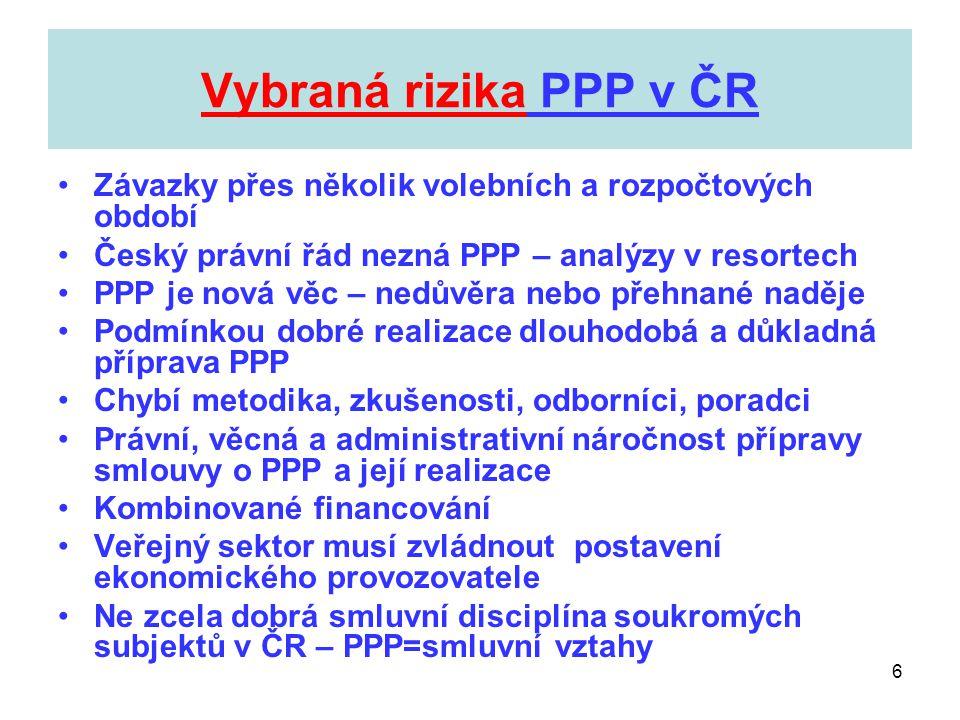Vybraná rizika PPP v ČR Závazky přes několik volebních a rozpočtových období. Český právní řád nezná PPP – analýzy v resortech.