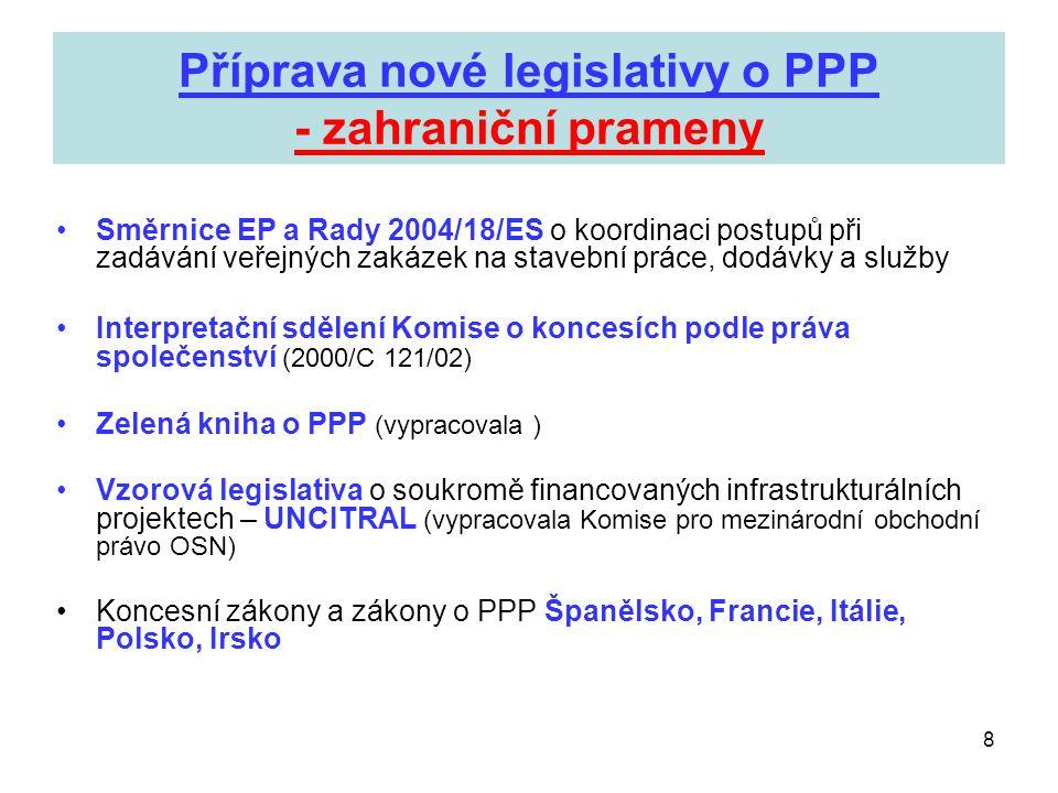 Příprava nové legislativy o PPP - zahraniční prameny