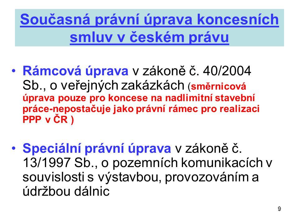 Současná právní úprava koncesních smluv v českém právu