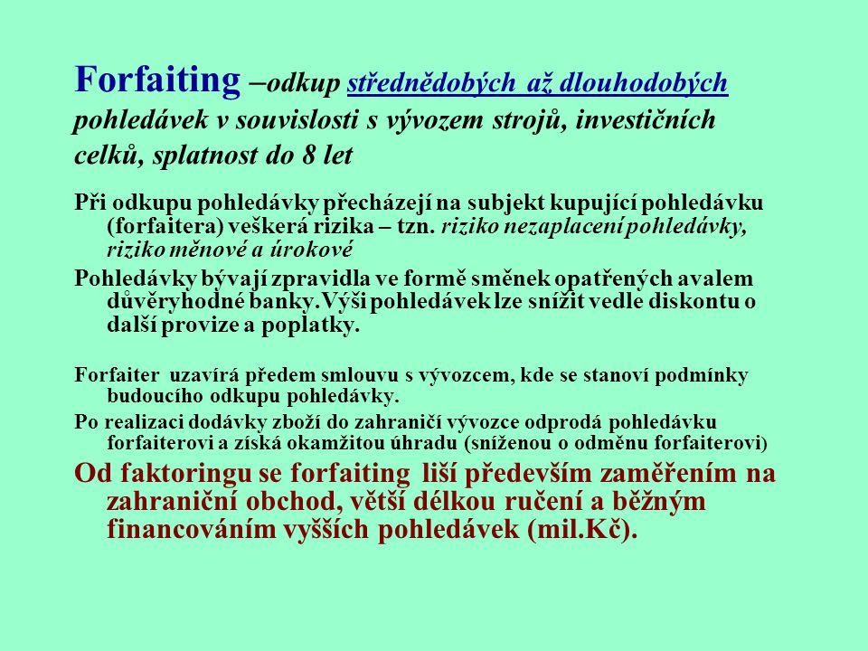 Forfaiting –odkup střednědobých až dlouhodobých pohledávek v souvislosti s vývozem strojů, investičních celků, splatnost do 8 let
