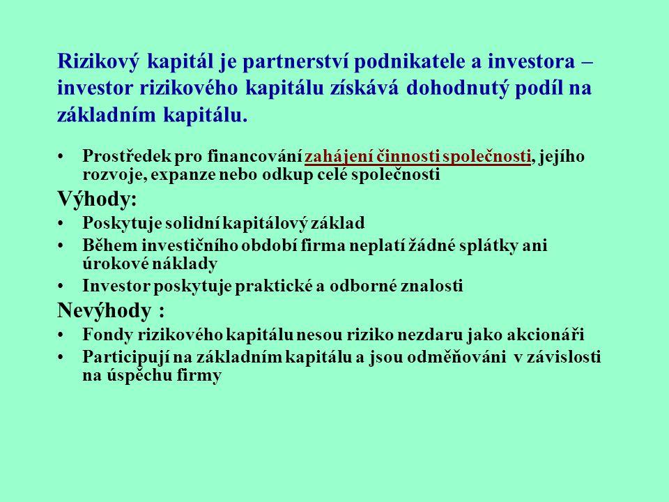 Rizikový kapitál je partnerství podnikatele a investora – investor rizikového kapitálu získává dohodnutý podíl na základním kapitálu.