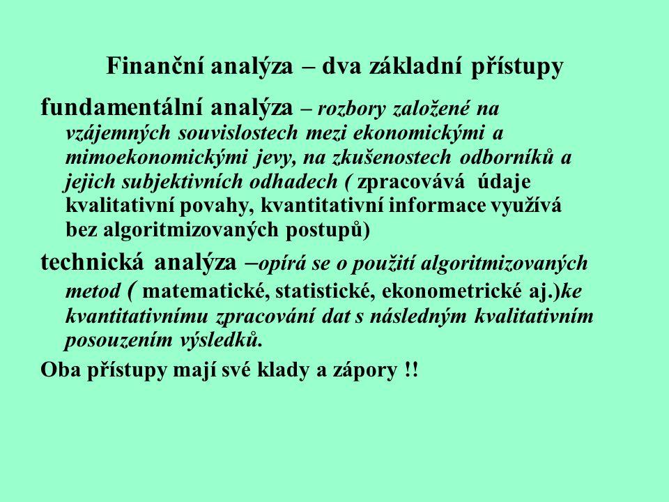Finanční analýza – dva základní přístupy