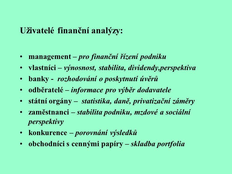 Uživatelé finanční analýzy: