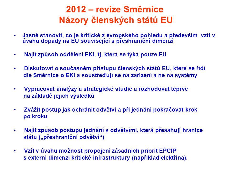 2012 – revize Směrnice Názory členských států EU