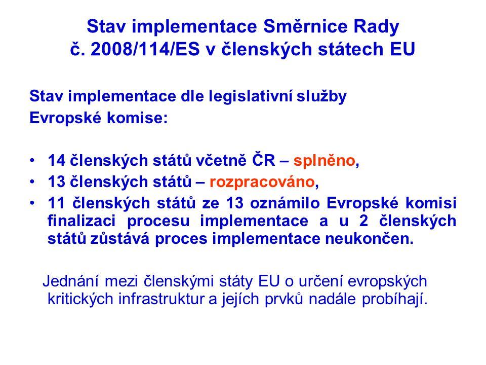 Stav implementace Směrnice Rady č. 2008/114/ES v členských státech EU