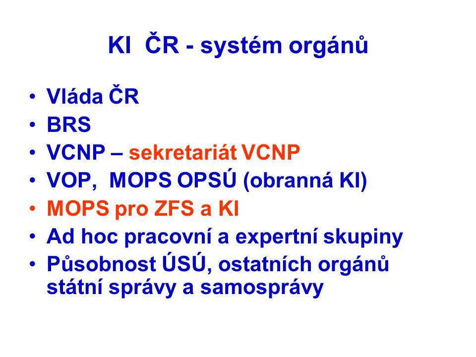 KI ČR - systém orgánů Vláda ČR BRS VCNP – sekretariát VCNP