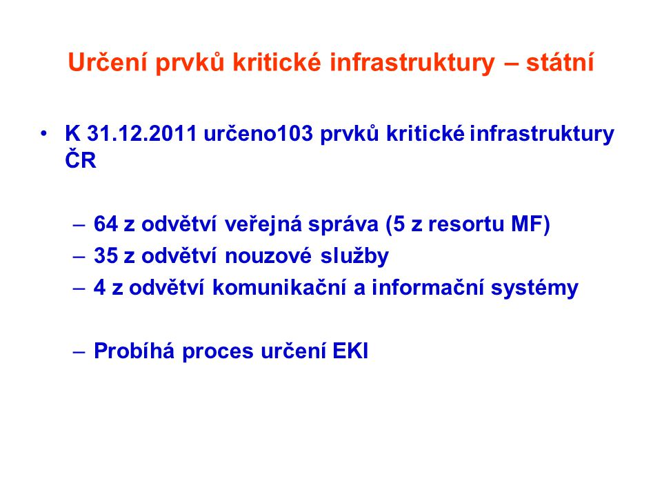 Určení prvků kritické infrastruktury – státní