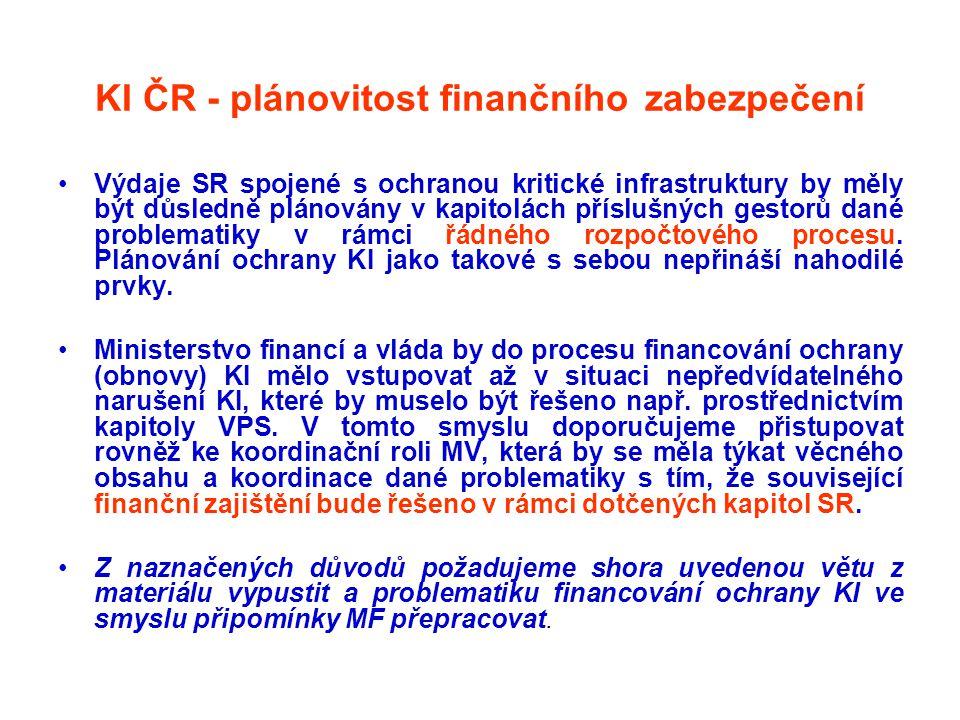 KI ČR - plánovitost finančního zabezpečení