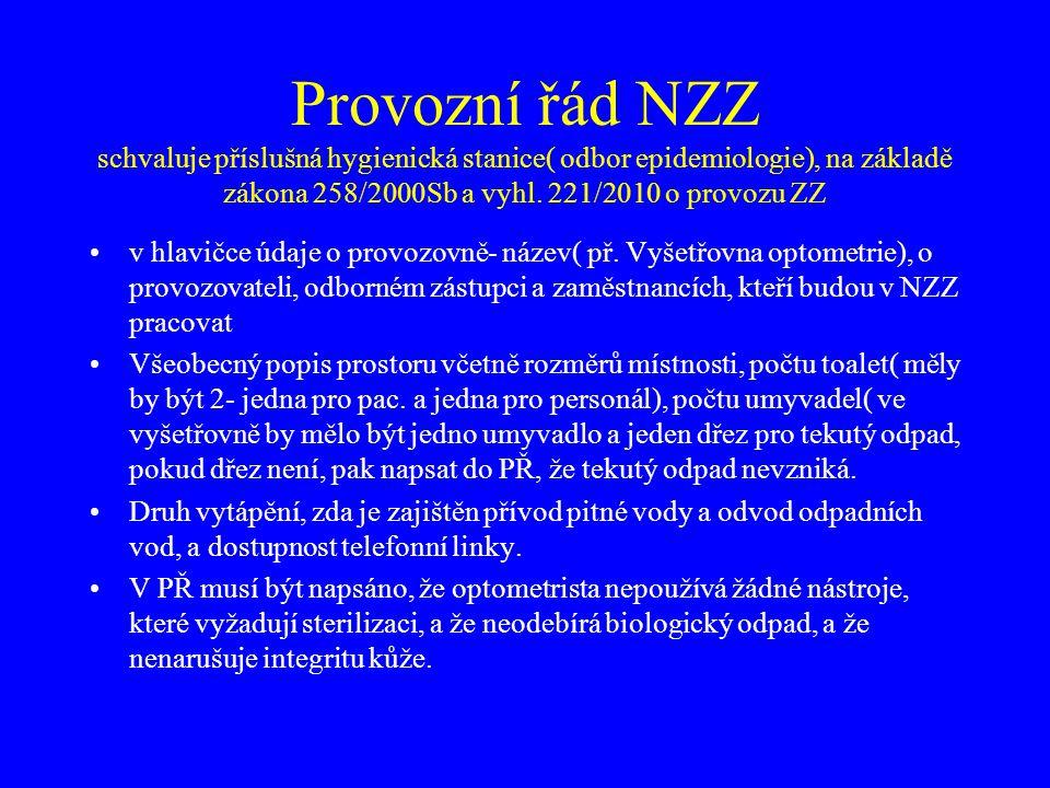 Provozní řád NZZ schvaluje příslušná hygienická stanice( odbor epidemiologie), na základě zákona 258/2000Sb a vyhl. 221/2010 o provozu ZZ