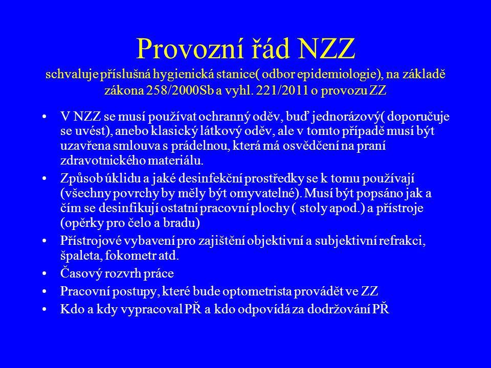 Provozní řád NZZ schvaluje příslušná hygienická stanice( odbor epidemiologie), na základě zákona 258/2000Sb a vyhl. 221/2011 o provozu ZZ