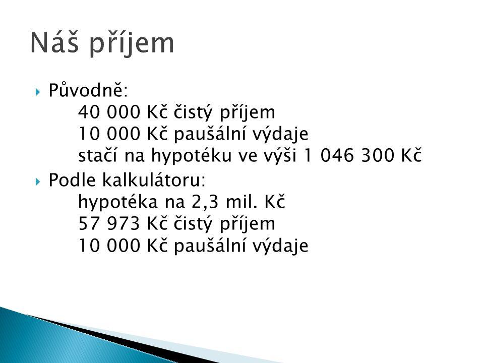 Náš příjem Původně: 40 000 Kč čistý příjem 10 000 Kč paušální výdaje stačí na hypotéku ve výši 1 046 300 Kč.