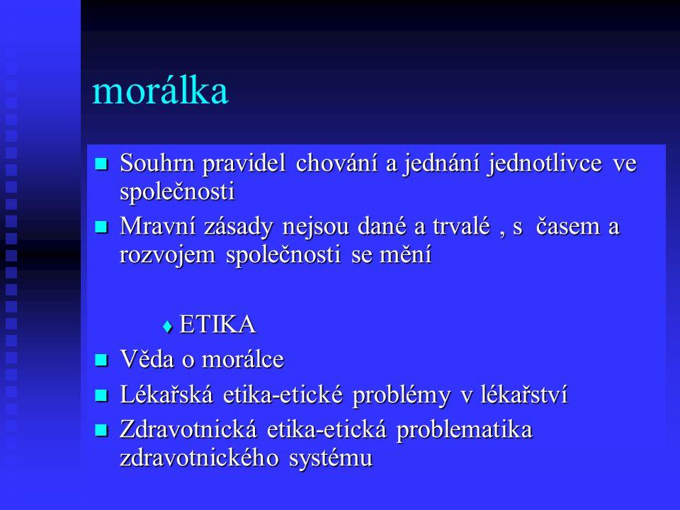 morálka Souhrn pravidel chování a jednání jednotlivce ve společnosti