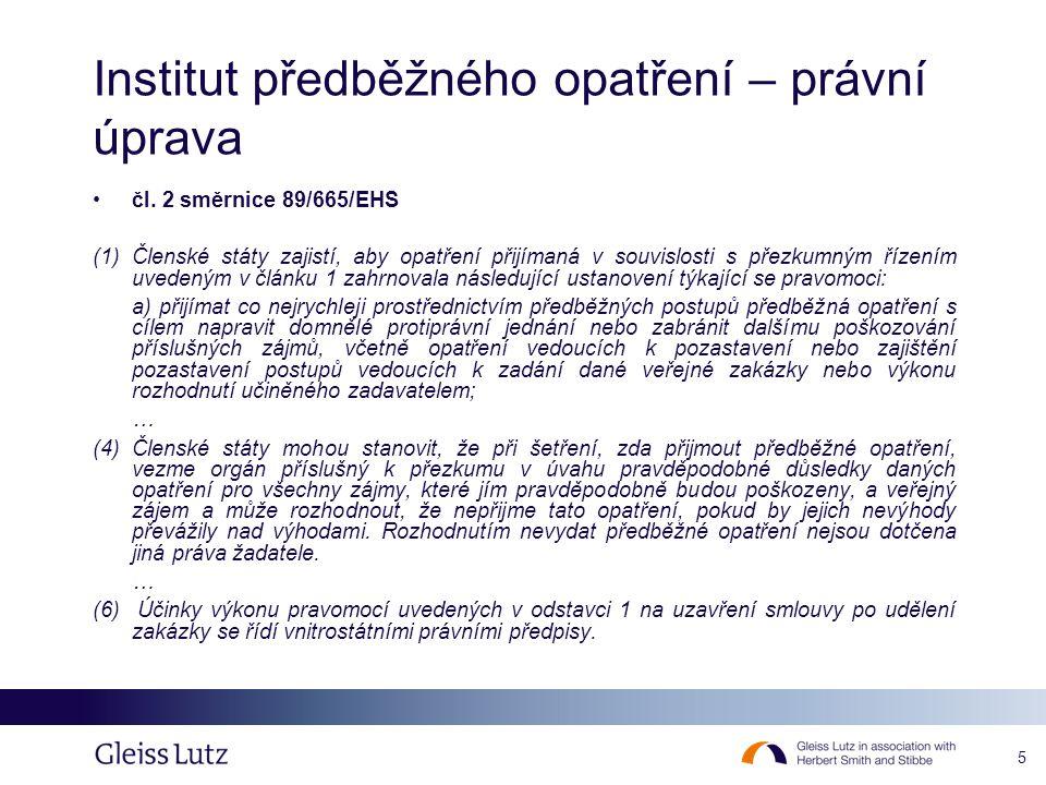 Institut předběžného opatření – právní úprava