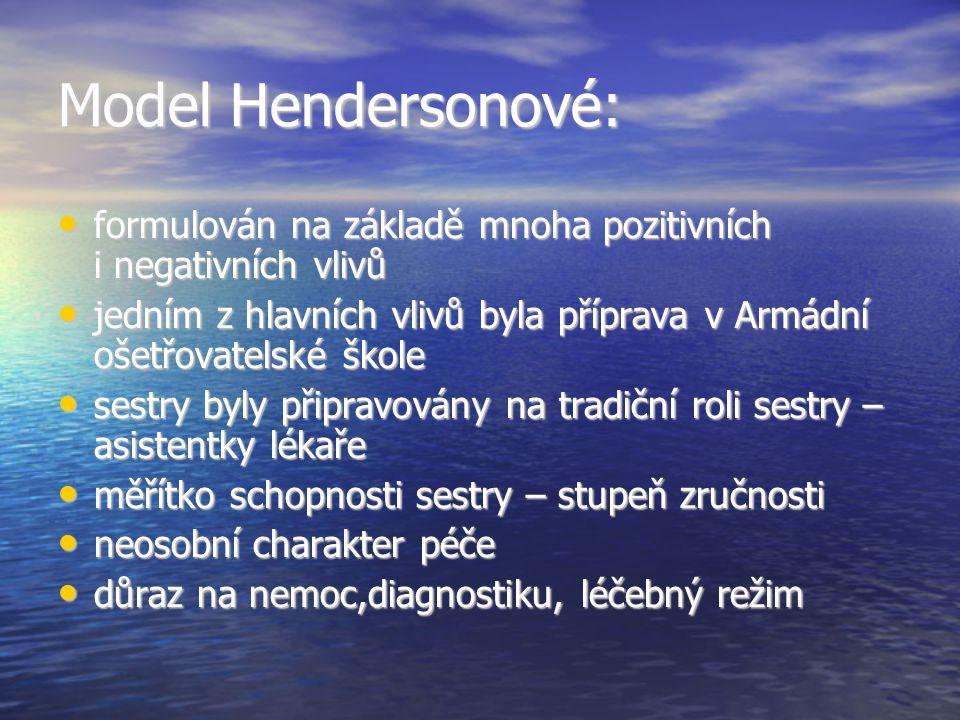 Model Hendersonové: formulován na základě mnoha pozitivních i negativních vlivů.