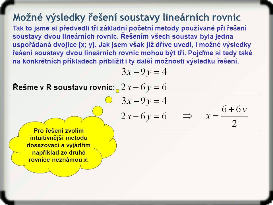 Možné výsledky řešení soustavy lineárních rovnic