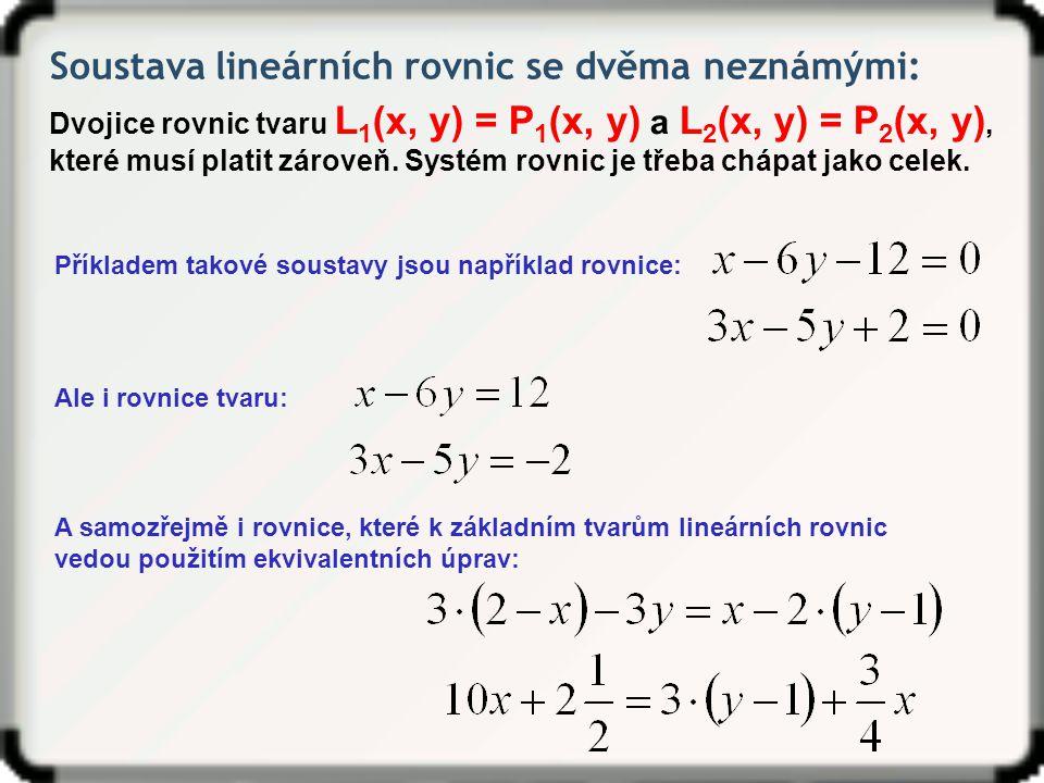 Soustava lineárních rovnic se dvěma neznámými: