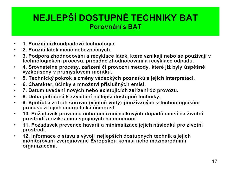 NEJLEPŠÍ DOSTUPNÉ TECHNIKY BAT Porovnání s BAT