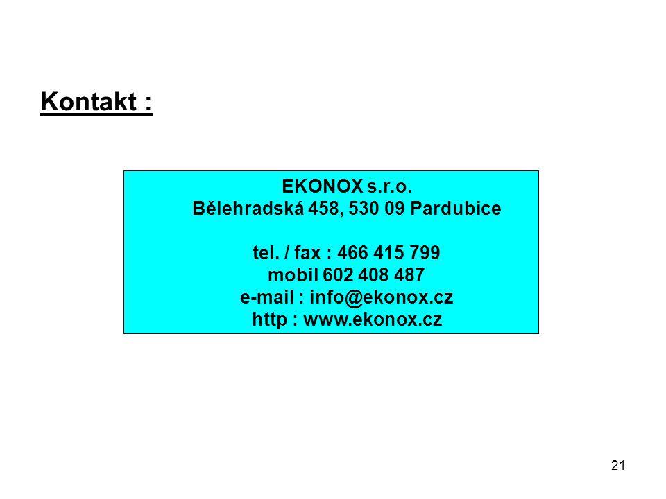 Bělehradská 458, 530 09 Pardubice e-mail : info@ekonox.cz