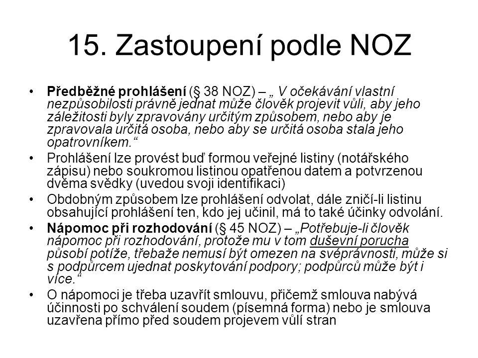 15. Zastoupení podle NOZ