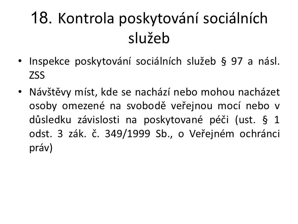 18. Kontrola poskytování sociálních služeb