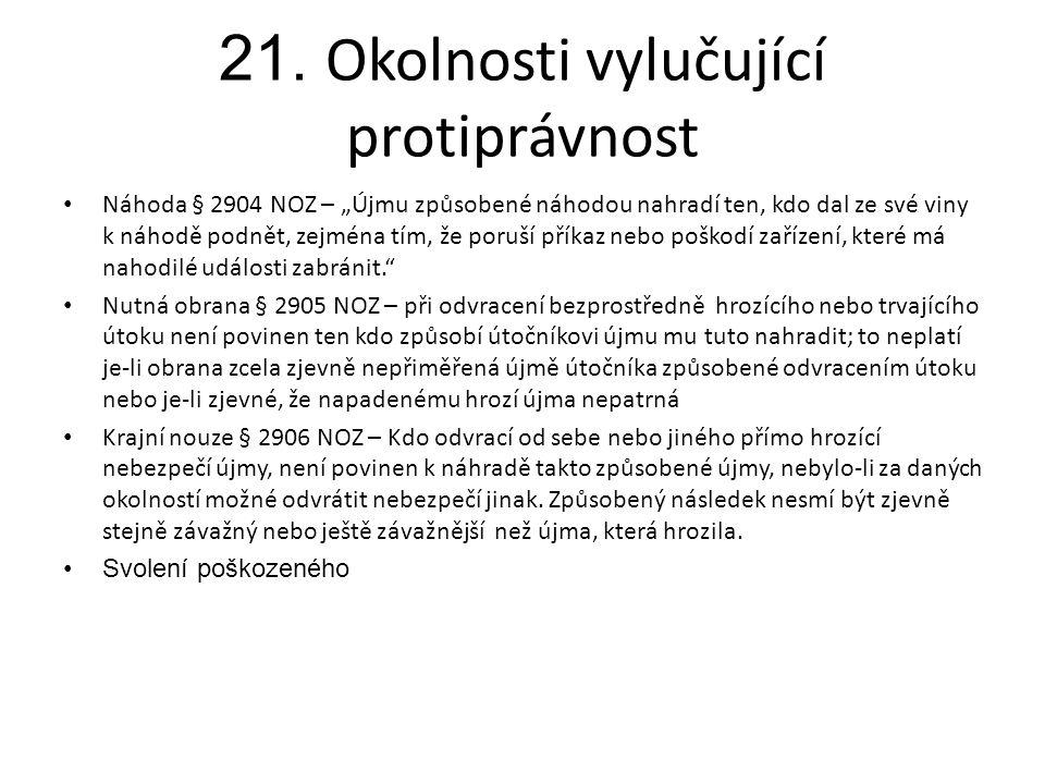 21. Okolnosti vylučující protiprávnost