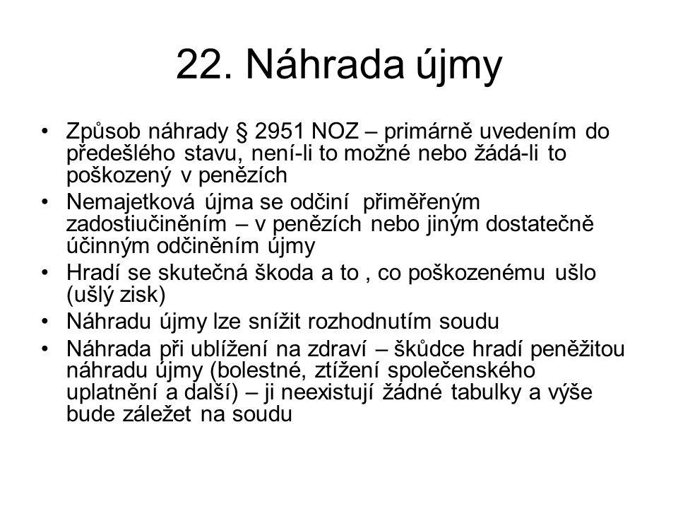 22. Náhrada újmy Způsob náhrady § 2951 NOZ – primárně uvedením do předešlého stavu, není-li to možné nebo žádá-li to poškozený v penězích.
