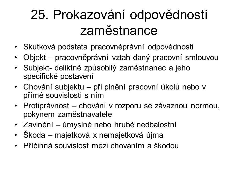 25. Prokazování odpovědnosti zaměstnance