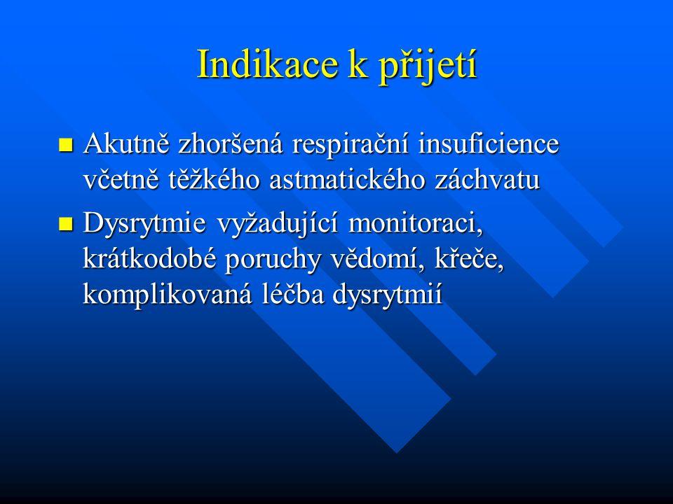 Indikace k přijetí Akutně zhoršená respirační insuficience včetně těžkého astmatického záchvatu.