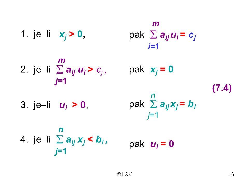 1. jeli xj > 0, pak  aij ui = cj i=1 m pak xj = 0