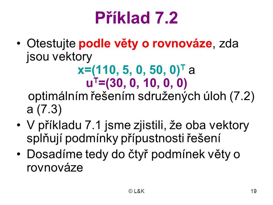 Příklad 7.2 Otestujte podle věty o rovnováze, zda jsou vektory