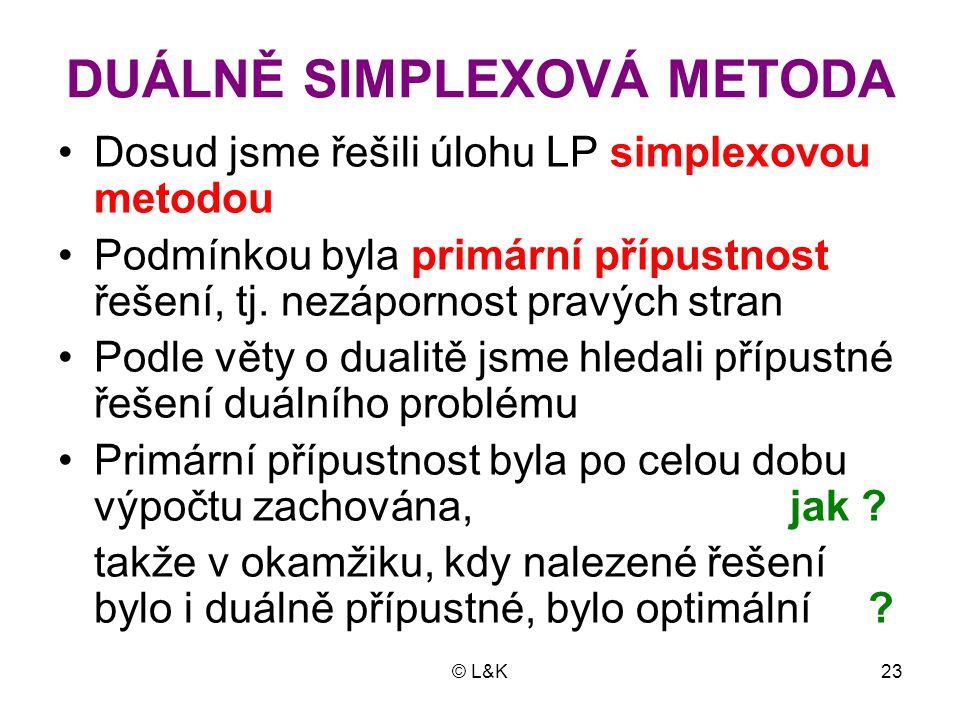 DUÁLNĚ SIMPLEXOVÁ METODA