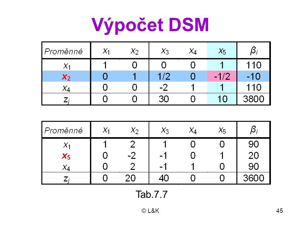 Výpočet DSM Tab.7.7 © L&K