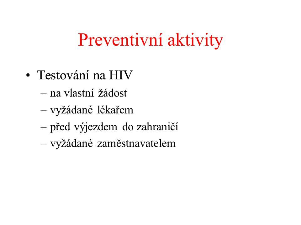 Preventivní aktivity Testování na HIV na vlastní žádost