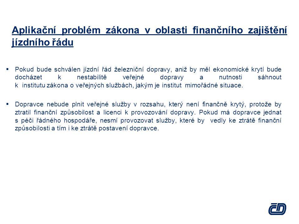 Aplikační problém zákona v oblasti finančního zajištění jízdního řádu