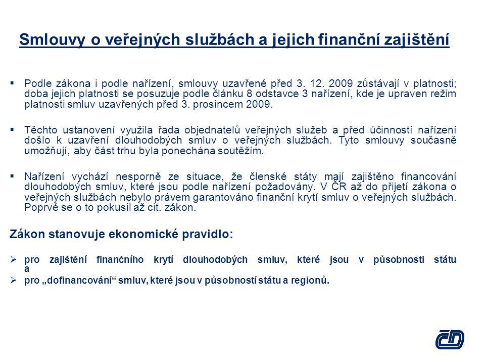 Smlouvy o veřejných službách a jejich finanční zajištění