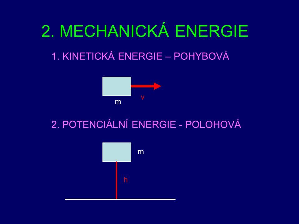 2. MECHANICKÁ ENERGIE KINETICKÁ ENERGIE – POHYBOVÁ