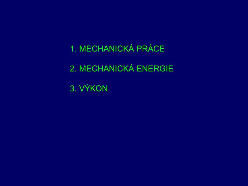 MECHANICKÁ PRÁCE MECHANICKÁ ENERGIE VÝKON