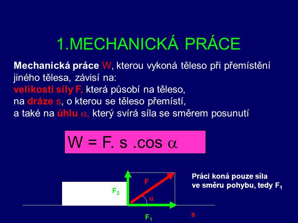 1.MECHANICKÁ PRÁCE W = F. s .cos a