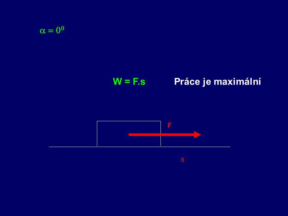 a = 00 W = F.s Práce je maximální F s