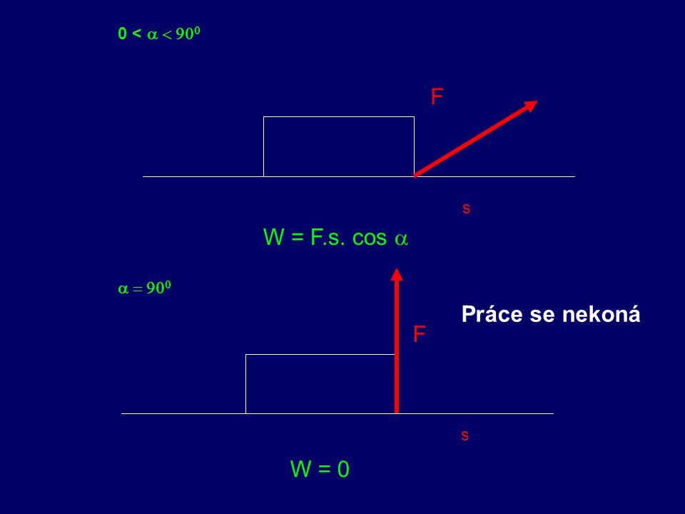 0 < a < 900 F s W = F.s. cos a a = 900 Práce se nekoná F s W = 0