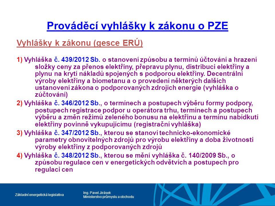 Prováděcí vyhlášky k zákonu o PZE
